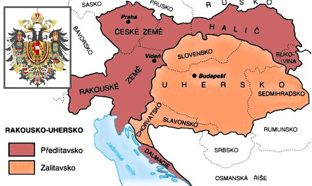 Mapa tehdejšího Rakouska-Uherska.