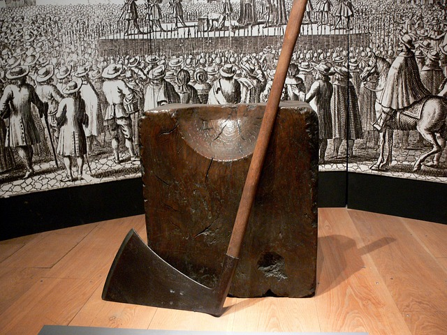 popravčí špalek a sekera v Tower of London