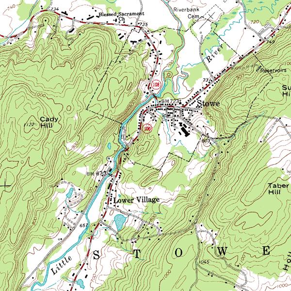Topografická mapa s vrstevnicemi